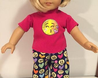 American Girl 18 inch flannel Emoji two piece pajama set