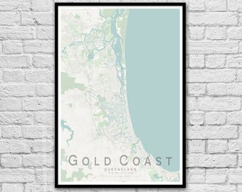Gold Coast QLD City Street Map Print | Wall Art Poster | Wall decor | A3 A2