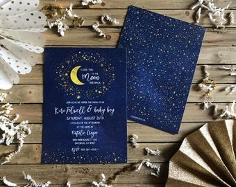 Digital Baby Shower Invite - Love You to the Moon and Back Invitation - Moon and Stars Invitation
