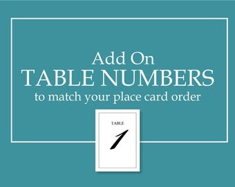 Add on Table Numbers
