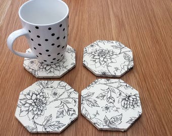 Black and white coasters - black floral coasters - office decor