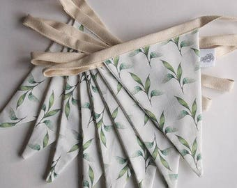 Green Leaf Floral Cotton 8 Flag Bunting Set - All Handmade in Buckinghamshire