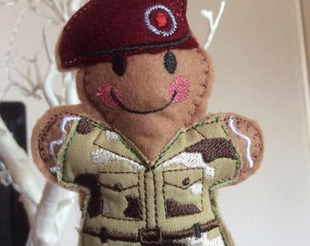 Gingerbread Soldier, Army, Uniform, Military, traditional Christmas Tree decoration, Gingerbread Man, Gingerbread tree ornament, Holiday.