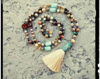 Classic Bohemia - Beaded Tassel Necklace//Jasper//Gold Czech Beads//Natural Stone//Chinese Crystal -Cream Tassel -Mala/Yoga/Gypsy