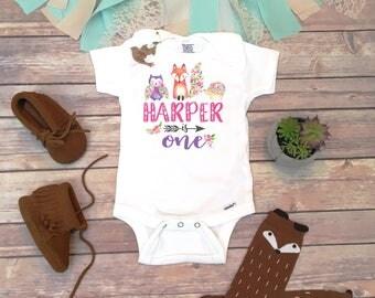 First Birthday Girl, Birthday Onesie®, Boho Birthday Shirt, First Birthday Outfit, Woodland Animal Birthday Party Theme, Fox Birthday Shirt