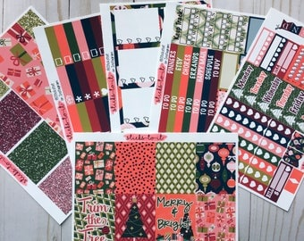 Merry and Bright Christmas ECLP Happy Planner Inkwell Press Weekly Kit Stickers Check Lists Daily Boxes Washi Strips