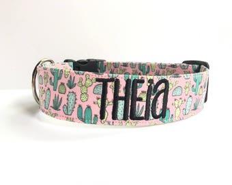 Cactus Dog Collar, Embroidered Dog Collar, Personalized Dog Collar, Catus Dog Collar, Collar, Personalized Collar, Dog Collar Personalized