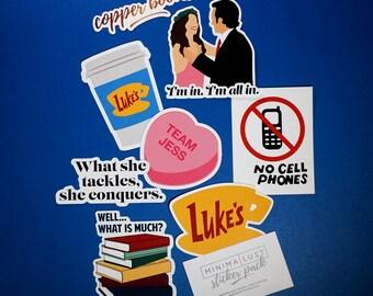 Gilmore Girls Die Cut Sticker Pack - Luke & Lorelai - Team Jess - Lorelai - Rory - Gilmore Girls Stickers - Luke's Diner