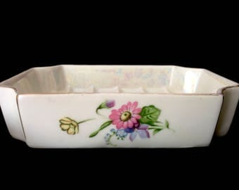 Vintage Shabby Chic Soap Dish Pink and Blue Flowers Floral