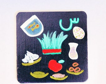 7 seen coaster 4*4 candle holder nowruz decor 7 seen sofreh