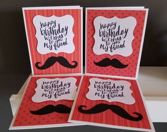 Birthday Mustache Card Set