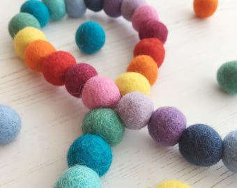 Rainbow Felt Ball Garland, Feltball Garland, Pom Pom Garland, Garland, Home, Nursery, Bedroom, Decoration, Bright, Colourful