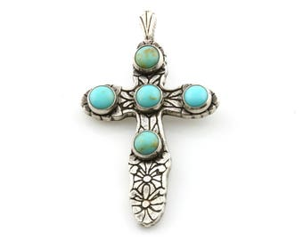 Vintage Sterling Silver and Turquoise Cross Pendant