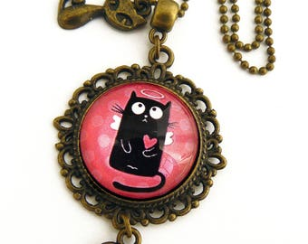 Black Angel amid pink pendant Medallion cat