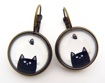 Black cat and butterfly earrings