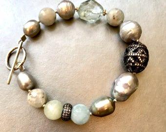 Aquamarine Bracelet--Aquamarine and Freshwater Pearl Bracelet--Pearl Bracelet--Aquamarine Jewelry