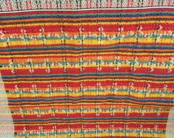Vintage Woven Tablecloth, Colorful Eastern  European Tablecloth