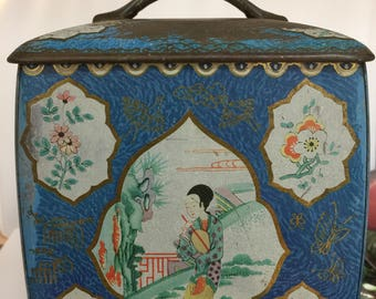 Vintage Japanese Tin Box, Japan Rare Tea Tin