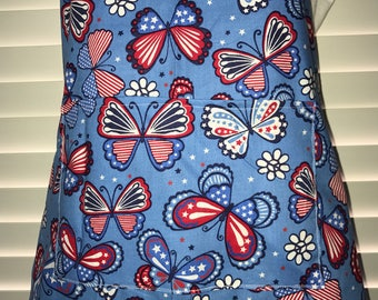 Butterfly Apron / Patriotic Adult Apron / American Flag Butterfly Apron / red white and blue apron