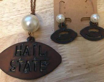 Hail State Football Necklace and Earrings