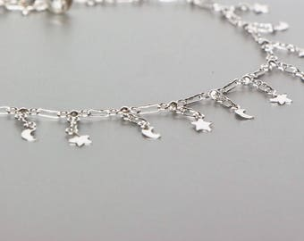 Moon And Star Anklet, Silver Anklet, Dainty Anklet, Foot Anklet, Boho Jewelry, Ankle Bracelet, Womens Anklet, Love The Universe Anklet AS95