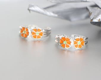Silver Toe Ring, Orange Flower Silver Toe Rings, Minimalist Toe Ring, Simple Toe Rings, Gift For Her, Toe Band, Bohemian,Toe Ring (TS85)