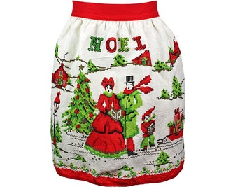 Vintage Christmas Apron, Noel, Tree, Carolers, Faux Needlework, Vintage Half Apron, Mid Century, Red Green Apron