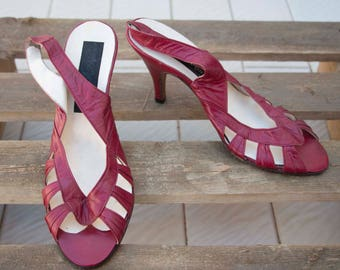 Vintage Shoes-Sandals open toe-ankle strap-Made in Italy-stock remaining 80s-new-not used-not used-heel 9 cm 36 1/2 en