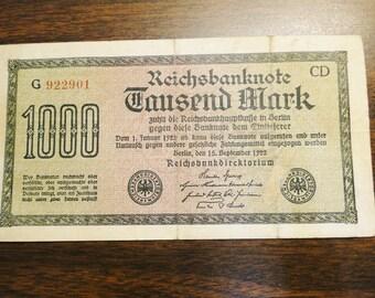 1922 German 1000 Mark Note 1922 German Reichsbanknote 1000 Mark - Nice Note!
