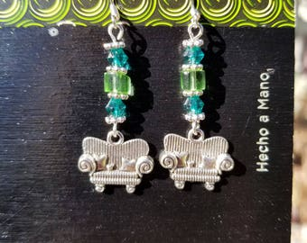 Couch Tour, Dangle Earrings, Green Glass Cube, Blue, Bicone Crystal, Sparkly, Blue Bicone, Silver Tone, Sofa