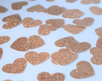 Rose Gold Confetti Hearts, Engagement Party Decorations, Rose Gold Party Decorations, Baby Shower Decorations, Bridal Shower Decorations