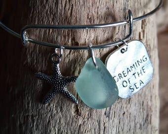 Seaglass Bracelet, Adjustable Bangle, Starfish Charm Bangle, Sealife Jewelry, Sea Glass Jewelry, Nautical Jewelry, Beach Bracelet, Surfer
