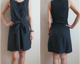 Vintage Black Linen Dress, Pale Black Linen Sleeveless Dress, Black Summer Mini Dress, Size S/M
