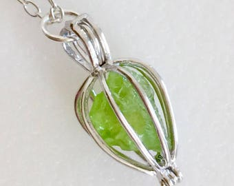 Peridot Cage Necklace, Sterling Silver Cage, Genuine Peridot Nugget, Yellow Green Peridot, August Birthstone, Teardrop Cage