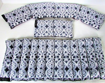 Hot/Cold Microwave Rice Packs,Lumbar/Neck/Eye Pillow, 3 Piece Gift Set,Fibromyalgia/Arthritis Relief,Unscented Flannel Rice Pack,