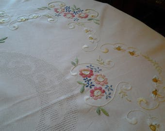 Vintage Hand Emboidered Floral Oval Tablecloth