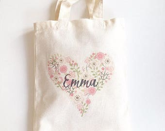 Flower Girl Bag, Wedding Bag, Girls Gift Bag, Personalised Party Bag, Wedding Favour Bag, Flower Girl Thank You Gift, Name Bag, Gift Bag