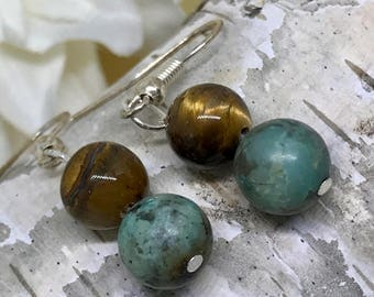 Smooth Sailing--- Tigers Eye with Turquoise Earrings