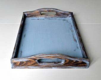 Breakfast Tray-Wood Serving Tray-Rustic Wooden Tray-Shabby Chic Tray-Distressed Brown &Blue Tray-Decorative Wood Tray-Blue Coffee Table Tray