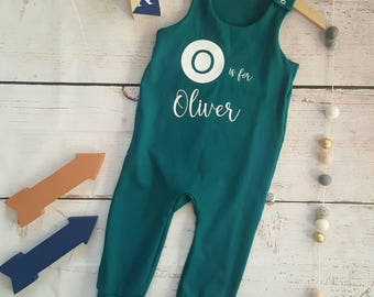 Baby romper, Toddler romper, baby girls romper, girl long sleeve, boys omper, Personalised romper, mint green romper, toddler dungaree