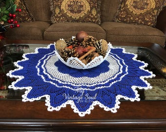 Blue and White Crochet Table Centerpiece - Pinwheel Crochet Doily - Vintage Decor - Crochet Lace Doily - Cottage Decor - Wedding Gift