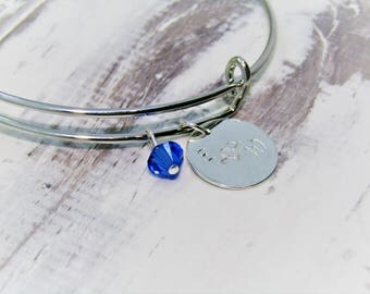 Personalised Soulful lovers Charm Bangle - Made with Swarovski Crystals