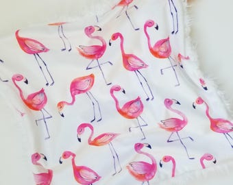 Flamingo Lovey, Watercolor Flamingos, Baby Girl Lovey, Baby Girl Blanket, Minky Blanket, Minky Girl Lovey, Modern Blanket, Toddler Lovey