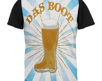 Oktoberfest Das Boot Beer Mug All Over Mens Black Back T Shirt