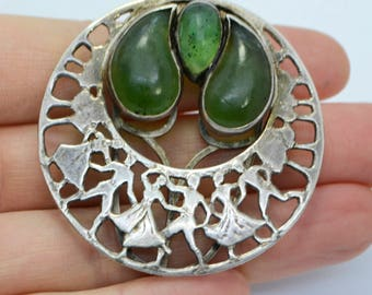1930s Solid SILVER & Green Stone SWING DANCERS Dress Clip Brooch - Studio Piece