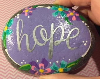 HOPE -  painted stone - inspirational rock -light PURPLE  with purple, teal & pink flowers -  small PAPERWEIGHT