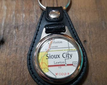 Sioux City Key Fob, Iowa Keychain, Map Keychain, Black Leatherette Keychain