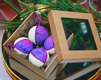 Handmade White Linen/Purple Cotton/Pink Fringe Christmas Tree Ornaments,Set of 4 - Christmas tree ornaments