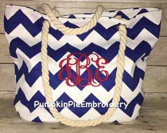 Chevron Rope Handle Canvas Totes
