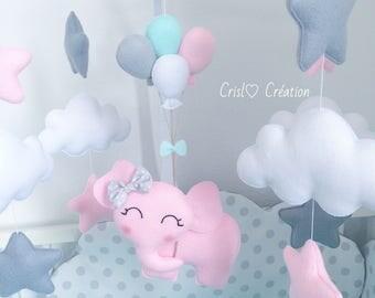 Pink elephant mobile